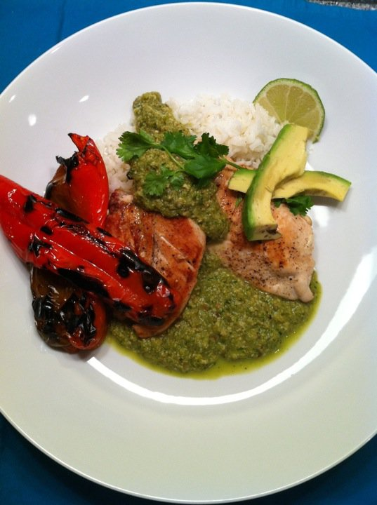 Chicken breast, grilled red pepper, tomatillo & pumpkin seed sauce ...
