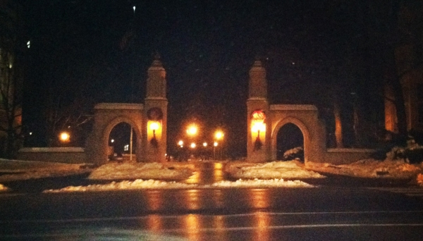"""The Sample Gates in the evening"" Photo courtesy of Ashley Kraus."