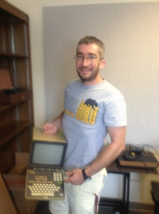 Julien Mailland with a Minitel and California Golden Bears t-shirt.
