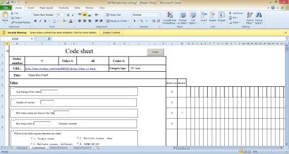 Snapshot of the code sheet
