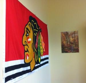 Blackhawks flag in Janis' office.