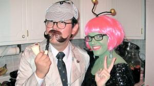 Yongwoog as Sherlock Holmes and Michelle as an alien (photo courtesy of Michelle Funk).