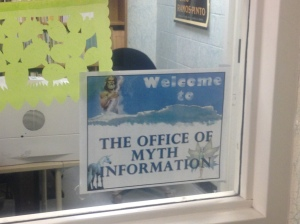 """Office of Myth Information"" - sign at entrance to Moira's office."