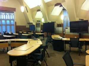 Open seminar space with audio visual equipment.