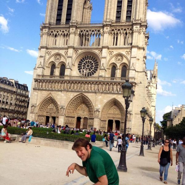 Dustin as the hunchback in front of Notre Dame
