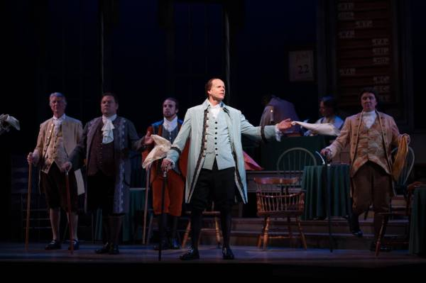 "Mike McGregor in 1776 at far stage right during the musical number ""Cool Cool Conservative Men"""
