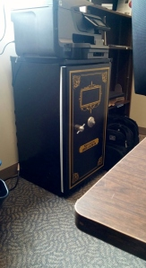 Mike's bank vault refrigerator in his office. You're lying if you say you're not jealous.