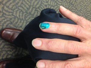 Walt's fashionable blue nail