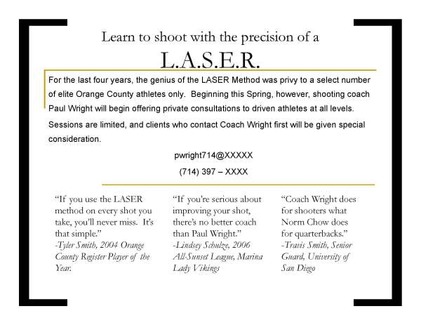 A flyer for Paul's L.A.S.E.R. shooting method with real-life testimony