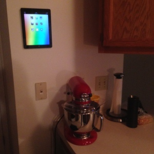 Anthony even mounted his iPad to the kitchen wall! Now he can control the music in the living room from the kitchen.