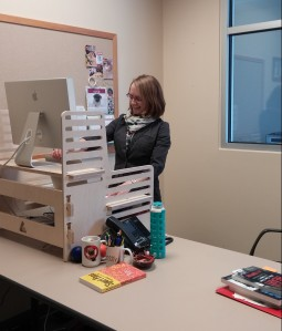 Jessica is in the standing-desk club, along with Annie and Robby.