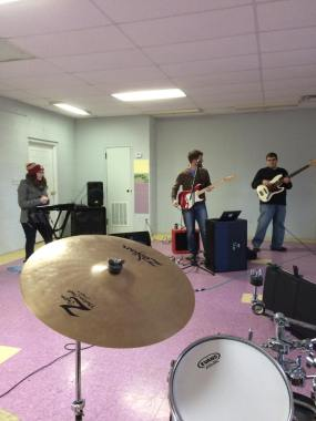Secondary Colors practicing some of their sweet jams