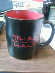 The new Third Half mugs which will hold outstanding coffee or other non-routine refreshments